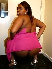 Naked ebony BBW Yaya showing off her hot thick beauty and takes cock filling in her cooze