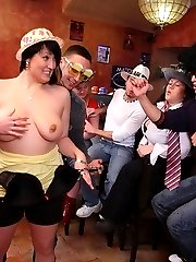 The three guys met these three fat chicks at the party and they just love to fuck them