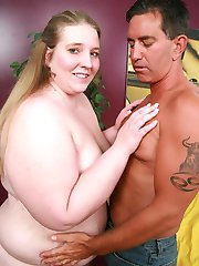 Lovely teen bbw Jessie showing off her plump boobs and takes cock cramming down her throat