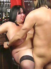 Fattie working as barmaid spreads nyloned legs for a horny hung customer