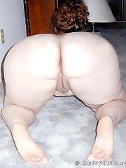 Sexy redhead plumper Sauce spreads her fat butt