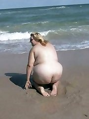 Amateur nude beach BBW nymph with big soft belly