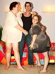 Mature plumpers Agnes Eva and Anna Marie go for a threesome and sensation each other while getting screwed