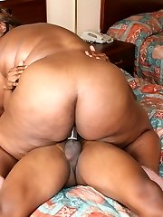 Cute black plumper Jasmine on her knees mouthing our weenie and gets it inserted into her fat cunny
