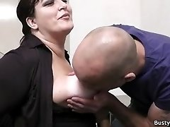 Office hook-up with busty assistant in stocking
