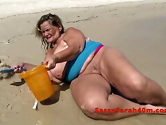 Phat saggy tits on the beach