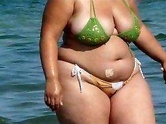 BBW Bikini - Candid backside - Beach Booty voyeur - Spying Caboose