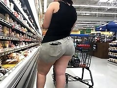 Wide Butt Plus-size Latina with Donk Eating Shorts Part 1