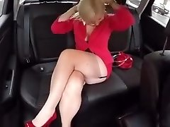 In the Truck with Malene in FF stockings mini miniskirt High Heels