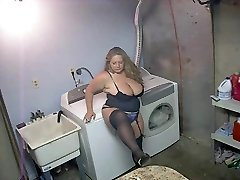 Torrid BBW in High-heeled Slippers and Lingerie Smoking Solo