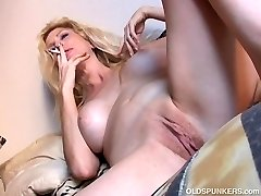Fantastic older spunker has a smoke & plays with her jiggly pussy