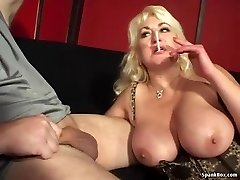 Busty mummy gives blow-job and smokes cigarette