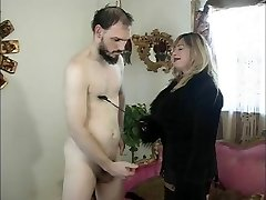 Big boobs mistress Cristian & her slave in action