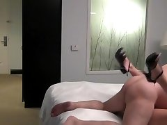 Massive ugly old guy screw a young beauty escort in a hotel room