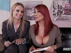 Ava Devine and Natasha Starr in office three way