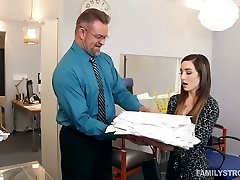 Cosseted chick Bambi seduces her stepfather in his office