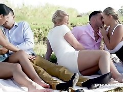 Russian cutie Kira Queen swaps her Beau with curvaceous nympho for swinger fuck