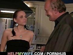 Slutty wifey is fucked on the table