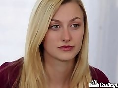 Casting Bed-X Blonde cheerleader shows off