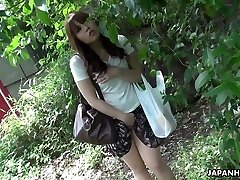 Wonderful and curious redhead Asian teenager watches hump on the street and masturbates