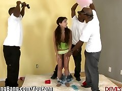 DevilsGangBangs Small Nubile Gets Banged By 3 Black Dicks