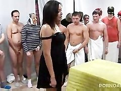 Gangbanged and Jizzed on by 30 guys