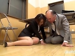 Japanese Milf ass touched in the office! her old boss wants some fresh pussy