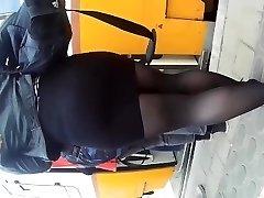 street candid teen in miniskirt. phat massive ass teenager is afraid of upskirt !