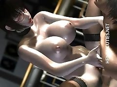 Steaming 3D anime honey in glasses ride dick
