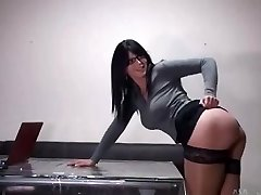 Hot secretary with glasses gets torn up