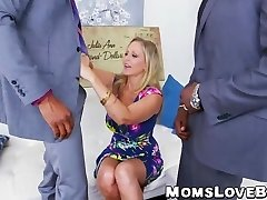 Hot blonde MILF Julia Ann bashed in threesome by BBCs