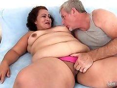 Fat woman takes fat weenie