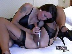 Nylon Jane sucks amazing thick pecker before fuckin TGirl ass