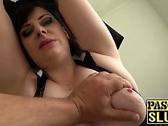 Round mature lady Elouise Lust deepthroat and harsh sex