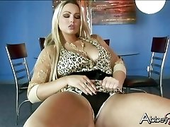 Seductive Abby Brooks getting wet and mischievous on a chair by herself
