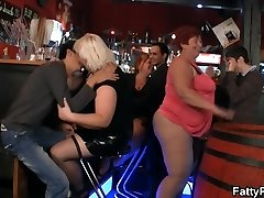 Hilarious enormous tits party in the bar