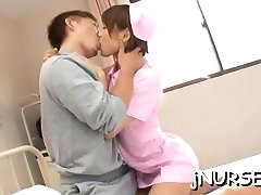 Japanese nurse deals patient's thick wang in sexy manners