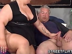 Real humungous fat BBW gives some sloppy suck off