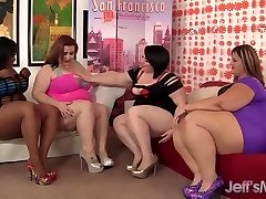 Four plump leabians steaming hot fuckfest