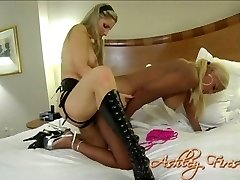 Black slut with big boobs fucked bad with strapon