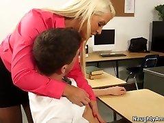 Blonde teacher Alura Jenson pleases insane schoolgirl Bruce