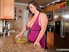 Busty Pornstar Nikki Smith Pulverizes Hsbbys Acquaintance in Kitchen