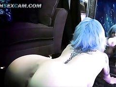 Mirror Dildo Fuck Double Penetration Blue Hair Tattoo Emo Cam Slut Punk HD