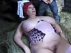 FRENCH BBW GRANNY OLGA Plowed BY 2 Fellows IN THE FARM