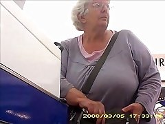 Granny with big butt band milk cans