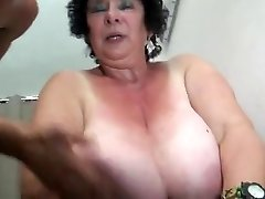 FRENCH Plumper 65YO Grandmother OLGA FUCKED BY 2 MEN - DP