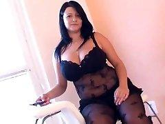 Meaty girl in arousing black lingerie