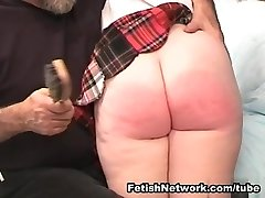 Sugary-sweet red haired schoolgirl prepped for some whipping