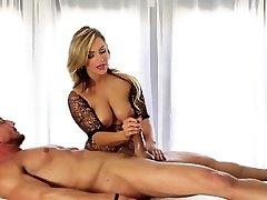 Towheaded masseuse strokes