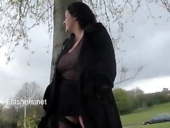 Chubby wifes public masturbation and busty amateur flashers ultra-kinky outdoor
